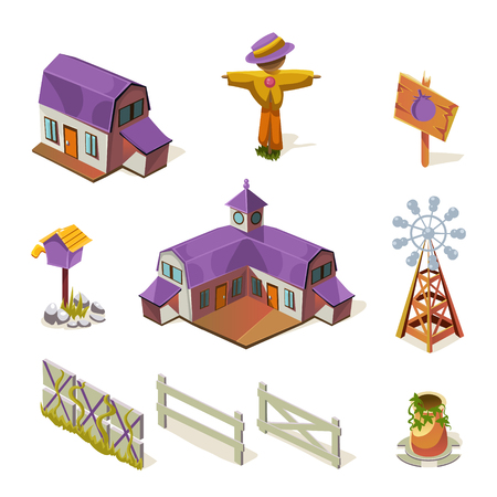 simplified: Farm Elements Set Simplified Cute Illustration In Childish Colorful Flat Vector Design Isolated On White Background Illustration