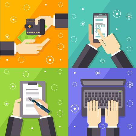 signing papers: Business Workflow Flat Vector Illustrations Set In Bright Colorful Simplified Infographic Style