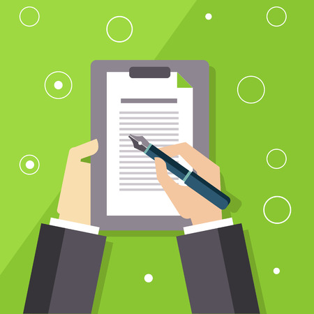 signing papers: Signing The Contract Flat Vector Illustration In Bright Colorful Simplified Infographic Style Illustration