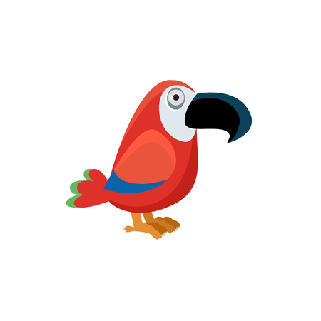 scarlet: Scarlet Macaw Funny Childish Cartoon Style Flat Vector Illustration In Bright Colors Isolated On White Background Illustration