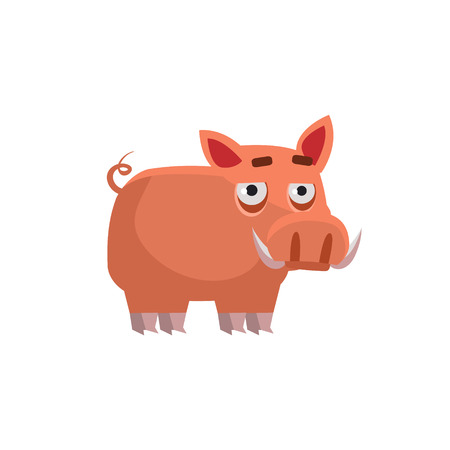 wart: Wart Hog Funny Childish Cartoon Style Flat Vector Illustration In Bright Colors Isolated On White Background Illustration