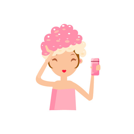 girls night out: Girl Washing Her Hair Portrait Flat Cartoon Simple Illustration In Sweet Gitly Style Isolated On White Background Illustration