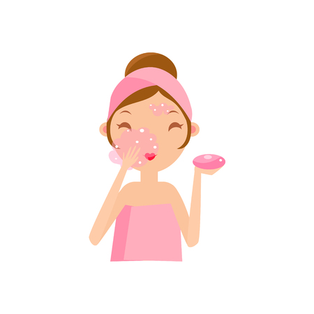 girls night out: Girl Washing Face With Soap Portrait Flat Cartoon Simple Illustration In Sweet Gitly Style Isolated On White Background Illustration