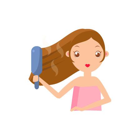 Portrait Fille défrisage des cheveux Flat Cartoon Illustration Simple Sweet Gitly style isolé sur fond blanc Vecteurs