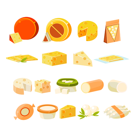 processed food: Different Cheese  Collection Of Flat Isolated Vector Icons In Bright Colors On White Background