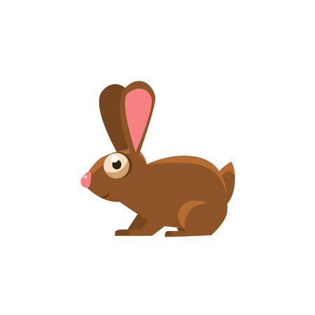 brown hare: Rabbit Simplified Cute Illustration In Childish Flat Vector Design Isolated On White Background
