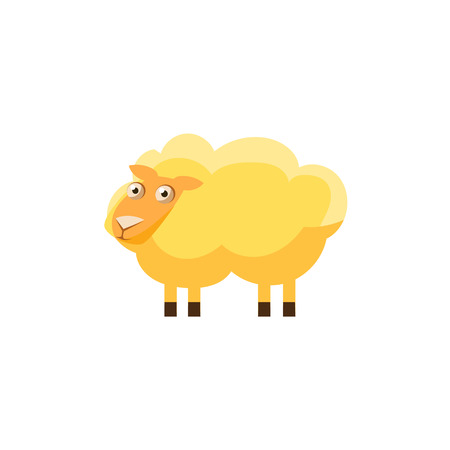 childish: Sheep Simplified Cute Illustration In Childish Flat Vector Design Isolated On White Background Illustration
