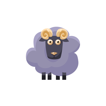 hoofs: Male Sheep Simplified Cute Illustration In Childish Flat Vector Design Isolated On White Background