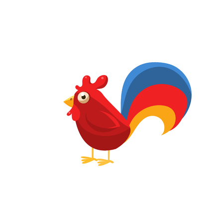comp: Rooster Simplified Cute Illustration In Childish Flat Vector Design Isolated On White Background