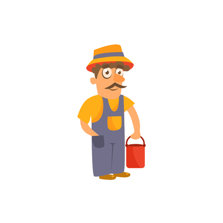 Farmer Simplified Cute Illustration In Childish Flat Vector Design Isolated On White Background Stock Illustratie
