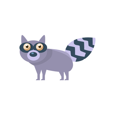childish: Raccoon Simplified Cute Illustration In Childish Flat Vector Design Isolated On White Background