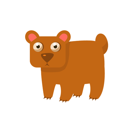 simplified: Brown Bear Simplified Cute Illustration In Childish Flat Vector Design Isolated On White Background