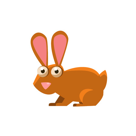 brown hare: Hare Simplified Cute Illustration In Childish Flat Vector Design Isolated On White Background Illustration