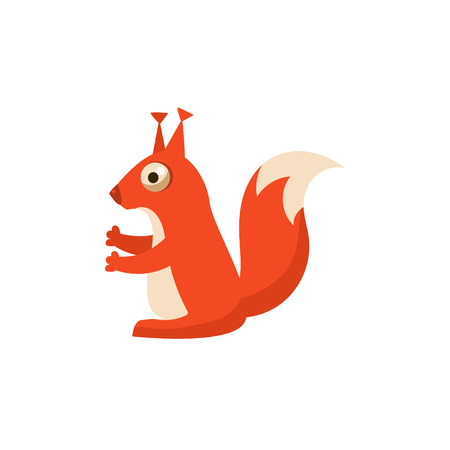tuft: Squirrel Simplified Cute Illustration In Childish Flat Vector Design Isolated On White Background