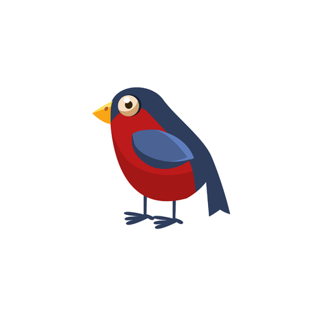 toy chest: Bullfinch Simplified Cute Illustration In Childish Flat Vector Design Isolated On White Background Illustration