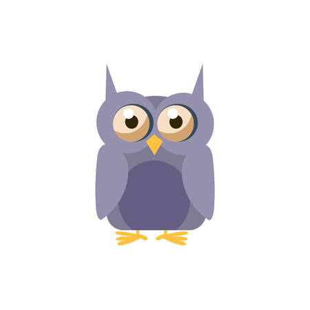 simplified: Owl Simplified Cute Illustration In Childish Flat Vector Design Isolated On White Background