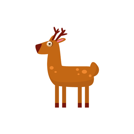 simplified: Deer Simplified Cute Illustration In Childish Flat Vector Design Isolated On White Background