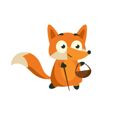 picking: Fox Picking Berries And Mushrooms Adorable Cartoon Style Flat Vector Illustration Isolated On White Background