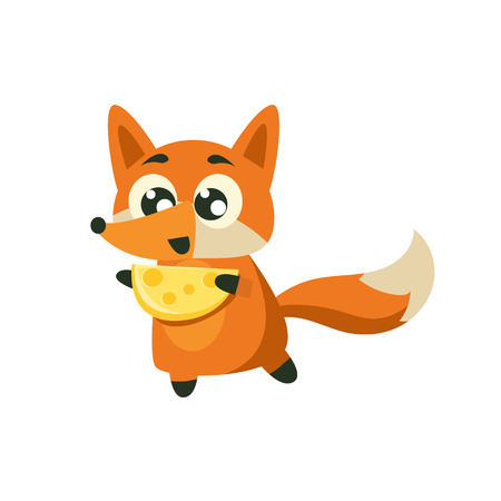 Fox Holding Piece Of Cheese Adorable Cartoon Style Flat Vector Illustration Isolated On White Background