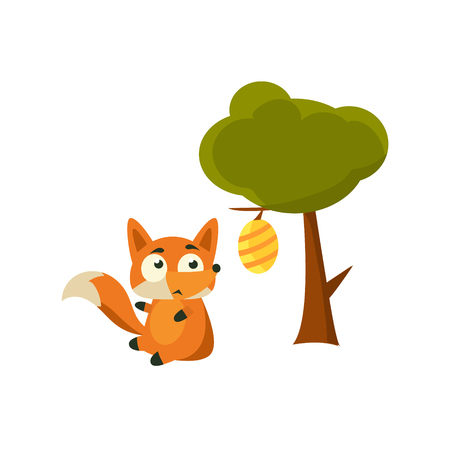 displeased: Fox And Beehive Adorable Cartoon Style Flat Vector Illustration Isolated On White Background