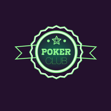 Doble Frame Green Poker Club Neon Sign Las Vegas Style Illumination Bright Color Vector Design Sticker