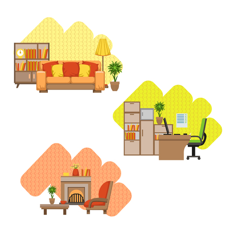 home office interior: Living Room And Home Office Interior Design Flat Cartoon Stylized Vector Illustration Set Illustration