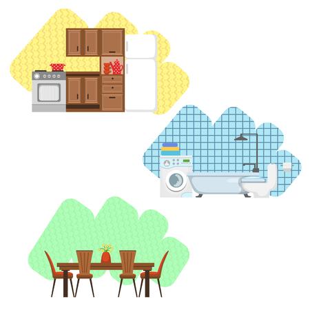 dining set: Kitchen, Bathroom And Dining Room Interior Design  Flat Cartoon Stylized Vector Illustration Set Illustration