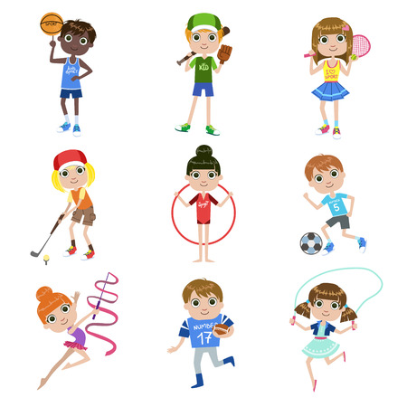 hulahoop: Kids Doing Sports Set Of Simple Design Illustrations In Cute Fun Cartoon Style Isolated On White Background Illustration
