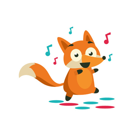 dancefloor: Fox On The Dancefloor Adorable Cartoon Style Flat Vector Illustration Isolated On White Background