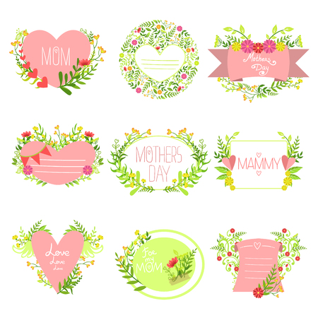 mammy: Mothers And St Valentine  Day Greeting Cards Collection Of Hand Drawn Detailed Floral Frames Templates In Vector Design