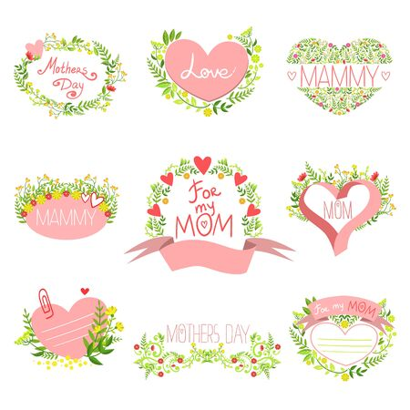 mammy: Mothers And St Valentine Day Greeting Cards Set Of Hand Drawn Detailed Floral Frames Templates In Vector Design