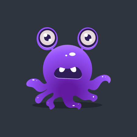 childish: Purple Octopus Alien Cute Childish Flat Vector Bright Color Drawing Isolated On Dark Background