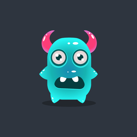 animal mouth: Blue Alien With Horns Cute Childish Flat Vector Bright Color Drawing Isolated On Dark Background