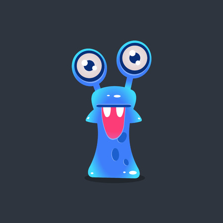 Snai-like Alien Monster Cute Childish Flat Vector Bright Color Drawing Isolated On Dark Background