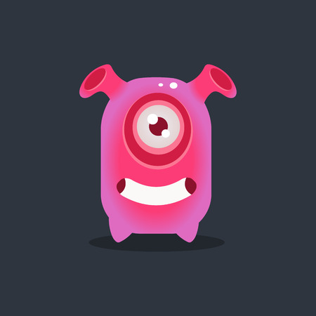 funnel: Pink Alien With Funnel Ears Cute Childish Flat Vector Bright Color Drawing Isolated On Dark Background