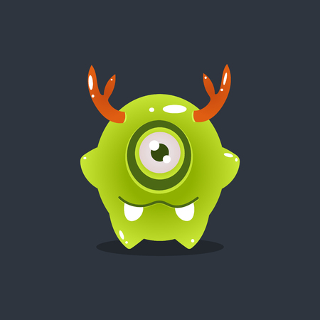 childish: Green Alien With Antlers Cute Childish Flat Vector Bright Color Drawing Isolated On Dark Background Illustration