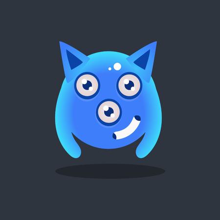 暗い背景上で分離先のとがった耳かわいい幼稚なフラット ベクトル明るい色図面に青いエイリアン  イラスト・ベクター素材