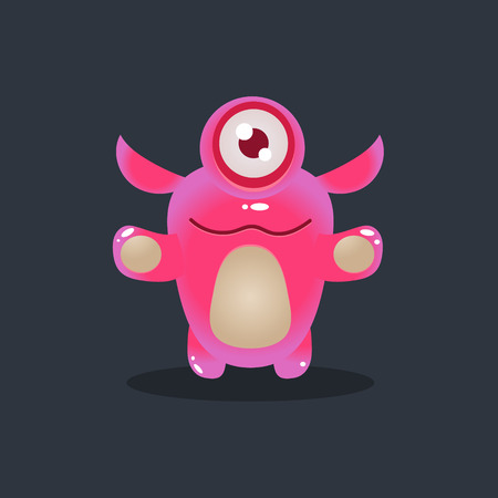 fictional character: One-eyed Pink Alien Cute Childish Flat Vector Bright Color Drawing Isolated On Dark Background