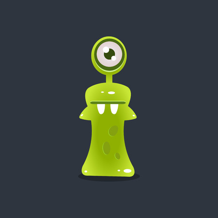 Green One-eyed Alien Cute Childish Flat Vector Bright Color Drawing Isolated On Dark Background