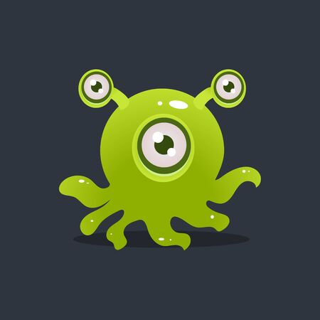 fictional character: Green Octopus Alien Cute Childish Flat Vector Bright Color Drawing Isolated On Dark Background