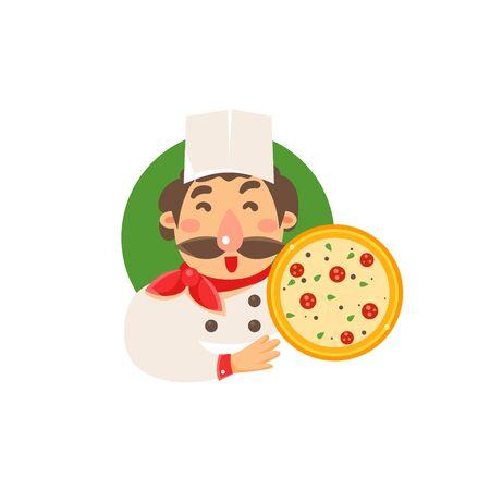 Cocine la celebración de pizza plano aislado primitivo estilo de dibujos animados sobre fondo blanco