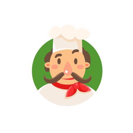 Italiana clásica Cook Flat aislado primitivo estilo de dibujos animados sobre fondo blanco Ilustración de vector