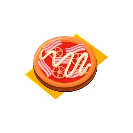 primitive: Bacon Tomato Pizza Flat Isolated Primitive Cartoon Style Illustration On White Background