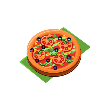 primitive: Vegetarian Full Pizza Flat Isolated Primitive Cartoon Style Illustration On White Background Illustration
