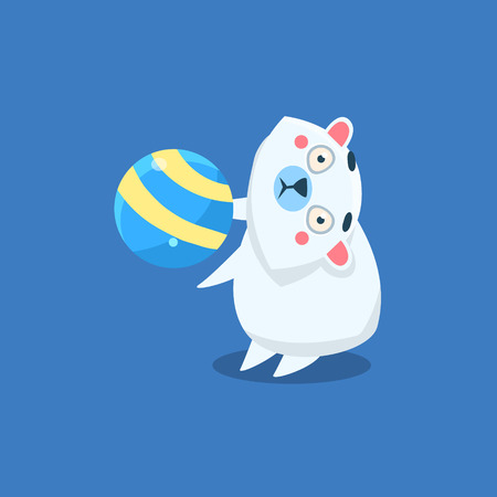 beg: Polar Bear Playing Ball Flat Primitive Geometric Design Vector Icon Isolated On Blue Background