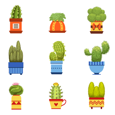 heats: Cactus In Pott Flat Cartoon Childish Cartoon Style Set Of Vector Icons Isolated On White Background