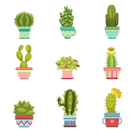 childish: Cactus In Pot Flat Cartoon Childish Cartoon Style Collection Of Vector Icons Isolated On White Background Illustration