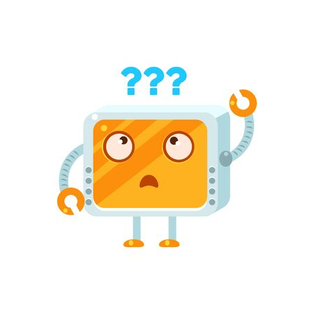 puzzled: Puzzled Little Robot Emoji Simple Flat Vector Icon In Childish Cute Style Isolated On White Background