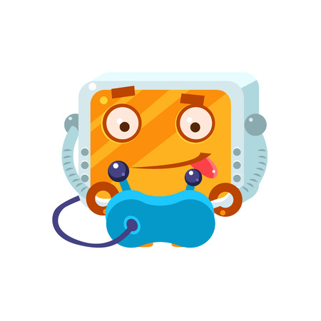 playing video games: Playing Video Games Little Robot Character Simple Flat Vector Icon In Childish Cute Style Isolated On White Background