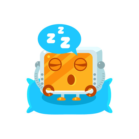 zzz: Sleeping Little Robot Character Simple Flat Vector Icon In Childish Cute Style Isolated On White Background Illustration